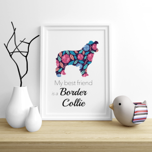 Plakat - Border Collie Flowers