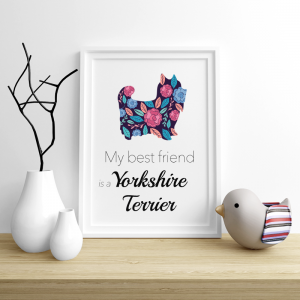 Plakat - Yorkshire Terrier Flowers